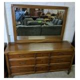 "Cherry Dresser With Mirror 62x19x32"", 67"" Tall"