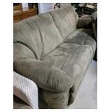 Green Berkline Microfiber Double Recliner Couch