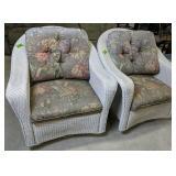2 Lloyd Loom White Wicker Swivel Arm Chairs