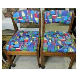 """Pair Of Abstract Print Rolling Chairs 34"""" Tall"""