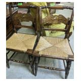 """Pair Of Eagle Back Rush Seat Side Chair 34"""" Tall"""