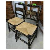 """Pair Of Black Stenciled Chairs 34"""" Tall"""