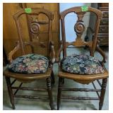 """Pair Of Victorian Walnut Side Chairs 35"""" Tall"""