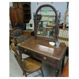 Mahogany Vanity With Mirror, Oak Chair