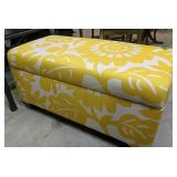 "Yellow Upholstered Storage Seat 38x19x20"""