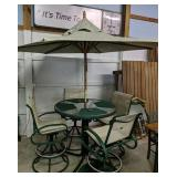 """42"""" Green Patio Table With Swivel Chairs, Umbrella"""