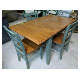 """Green Kitchen Table, Four Chairs 53x34x29"""","""