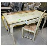 """Yellow Floral 48x24x30"""" Desk With Chair, Rack"""