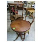 Mahogany Round Table, Walnut Chair, Pair Of Round