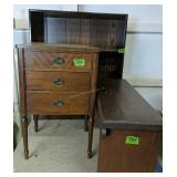 Bookcase, Three Drawer Sewing Stand, Bench
