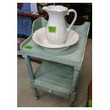 """Wash Pitcher With Bowl And 33"""" Stand"""