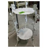 """27"""" Two-tier Cast Iron White Plant Stand"""