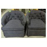 """Pair Of Blue Tub Chairs 29"""" Wide X 28"""" Tall"""