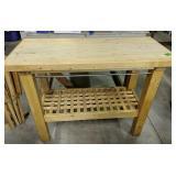 "Butcher Block Work Table 47x21x35"""