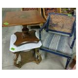 Blue Armchair, Marble Top Table, Stencil Table