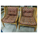 """Pair Of Orange Leaf Pattern Wicker 29"""" Chairs"""
