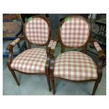 """Pair Of Hickory Company Checkerboard 38"""" Armchairs"""