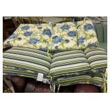 4 Blue Floral Reversible Striped Patio
