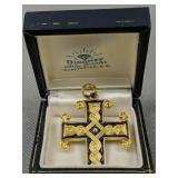 18k Gold Enamel Cross Pendant 11.1 Dwt