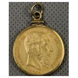 1874 20 Franc Leopold Ii Belgium Gold Coin