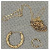 14k Gold Earrings, Tangled Necklaces, 3dwt