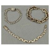 """3 Sterling Silver 8"""" Bracelets"""