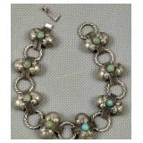 """Turquoise Sterling Silver Mexico 7"""" Bracelet"""