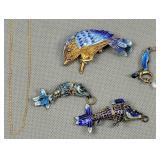 Articulated Enamel Fish Pendants, Bird Pin,