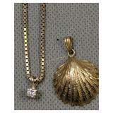 14k Gold Diamond Pendant, Shell Pendant 5.3 Dwt