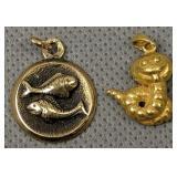 18k Gold Fish Pendant, Worm Pendant Marked 966