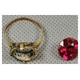 10k Gold Ring With Red Stone Removed 1.1 Dwt