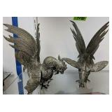 Cast Metal Fighting Roosters