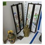 Cloisonne Style Vase, Immortal Brass Figurine,