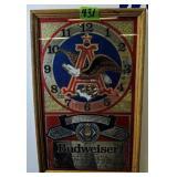 "13x21"" Budweiser Mirror Clock. Missing Clock"