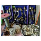 Silver Plate Flatware, Sewing Spools Etc