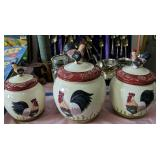 Three-piece Rooster Canister Set
