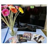 "32"" Samsung Flat Screen Hdtv, Glass Vase, Dvds"