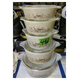 Set Of 5 Pyrex Bowls With Lids Mushroom Pattern