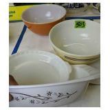 Pyrex Bowls, Pie Dish Etc