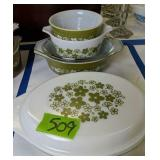 Green Pyrex Divided Dish With Lid Etc