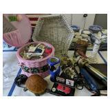 Selling Basket, Ryobi Detail Sander, Hedger,