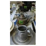 Caesar Rodney Pewter Plate, Copper Teapot,