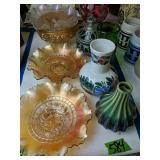 Carnival Glass Bowls, Vase, Cover Jar Etc