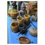 Wood Tiki Mugs, Treen Covered Bowl, Carved I