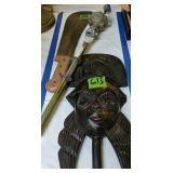 Blow Gun, Corn Knife, Carved Wood Mask