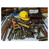 Assorted Hand Tools, Pipe Wrenches, Draw Knives,