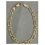 "14k Gold 9"" Figaro Link Bracelet 9 Dwt"