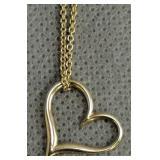 """14k Gold 18"""" Necklace Heart Pendant 2.1 Dwt"""