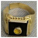14k Gold Onyx Ring 5dwt