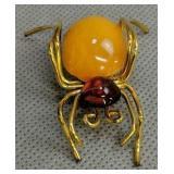 Amber Guild Gold Filled Spider Brooch